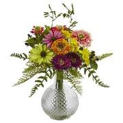 """Nearly Natural Mixed Flower in Glass Vase 13"""" Multi Color (4585)"""