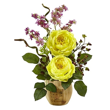 Nearly Natural Large Rose and Dancing Daisy in Wooden Pot 17