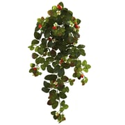 "Nearly Natural Strawberry Hanging Bush with  Berry 31"" Red Green (6115-S2)"