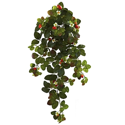 Nearly Natural Strawberry Hanging Bush with Berry 31