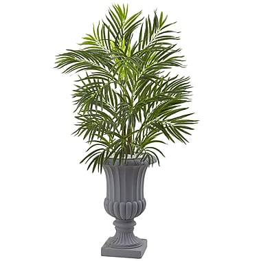 Nearly Natural 3.5 Ft. Areca Palm Tree with Gray Urn UV Resistant (Indoor/Outdoor) 3.5 ft. Green (5954)