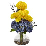 "Nearly Natural Hydrangea and Mum in Vase 19"" Yellow Blue (1452-YB)"