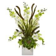 "Nearly Natural Delphinium and Succulent Arrangement 23"" White (1446-WH)"