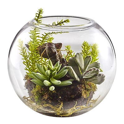 Nearly Natural Mix Succulent Garden with Glass Vase 6.5