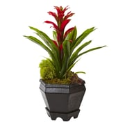 "Nearly Natural Bromeliad in Black Hexagon Planter 16.5"" Red (6927-RD)"