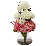 "Nearly Natural Hydrangea and Mum in Vase 19"" Pink White (1452-PW)"