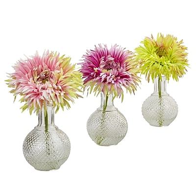 """""Nearly Natural Daisy with Glass Vase 9"""""""" Assorted (4575-S3)"""""" 2678208"