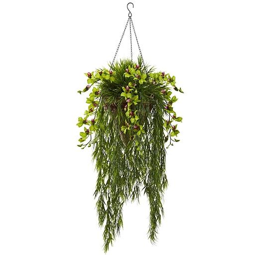 "Nearly Natural Bamboo & Dendrobium Hanging Basket 40"" Green (6849-GR)"