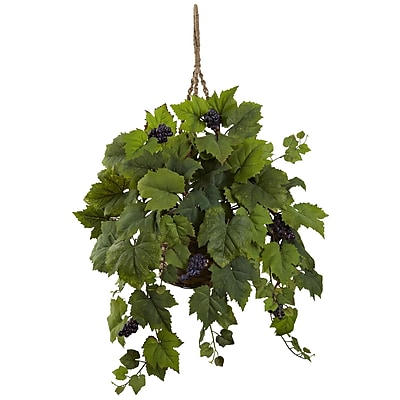 Nearly Natural Grape Leaf Hanging Basket 22