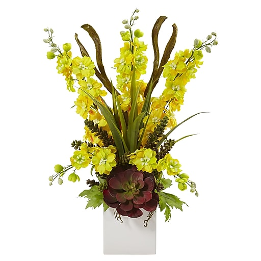 """Nearly Natural Delphinium and Succulent Arrangement 23"""" Yellow (1446-YL)"""