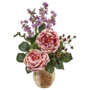 "Nearly Natural Large Rose and Dancing Daisy in Wooden Pot 17"" Pink (1447-PK)"