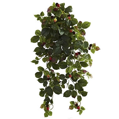 Nearly Natural Raspberry Hanging Bush with Berry 32