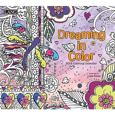 LANG Dreaming In Color 2018 Coloring Wall Calendar (18991019102)