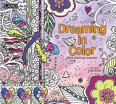LANG Dreaming In Color 2018 Coloring Wall Calendar (18991019102)