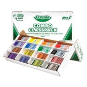 Crayola Classpack Combo Washable Markers and Large Crayons, Broad, Assorted Colors, 256/Case (52-3348)