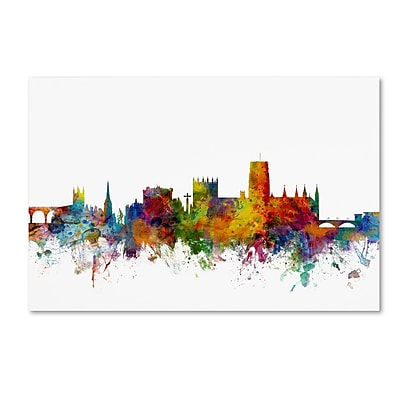 Trademark Fine Art Michael Tompsett 'Durham England Skyline White' 12