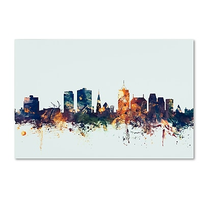 Trademark Fine Art Michael Tompsett 'Christchurch NZ Skyline Blue' 12