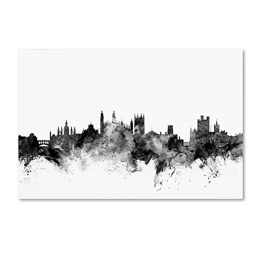 "Trademark Fine Art Michael Tompsett 'Cambridge England Skyline B&W' 12"" x 19"" Canvas Stretched (190836108787)"
