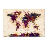 "Trademark Fine Art Michael Tompsett 'World Map Paint Splashes 2' 12"" x 19"" Canvas Stretched (190836021994)"
