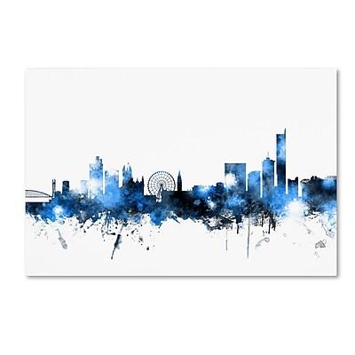 Trademark Fine Art Michael Tompsett 'Manchester Skyline White' 12