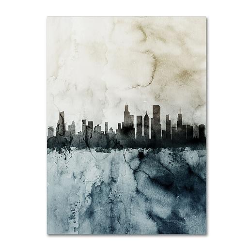 "Trademark Fine Art Michael Tompsett 'Chicago IL Skyline Tall 2 ' 14"" x 19"" Canvas Stretched (190836097326)"