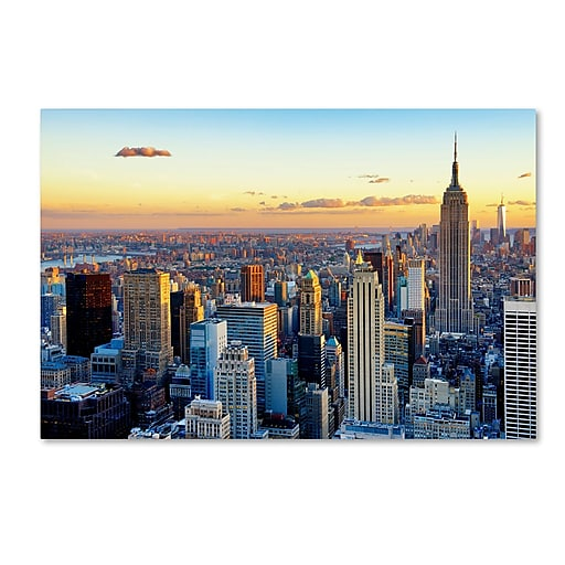 """Trademark Fine Art Philippe Hugonnard 'NYC at Sunset' 12"""" x 19"""" Canvas Stretched (190836047093)"""