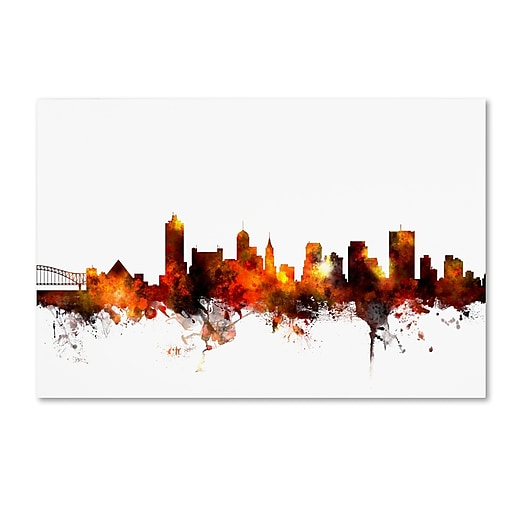 "Trademark Fine Art Michael Tompsett 'Memphis Tennessee Skyline Red' 12"" x 19"" Canvas Stretched (190836093304)"