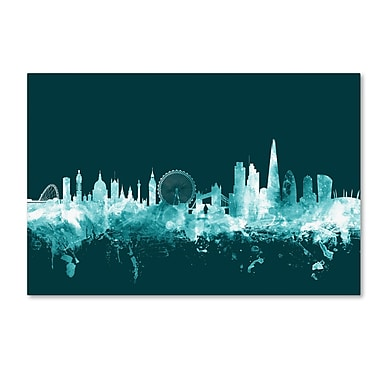 Trademark Fine Art Michael Tompsett 'London England Skyline Teal' 12