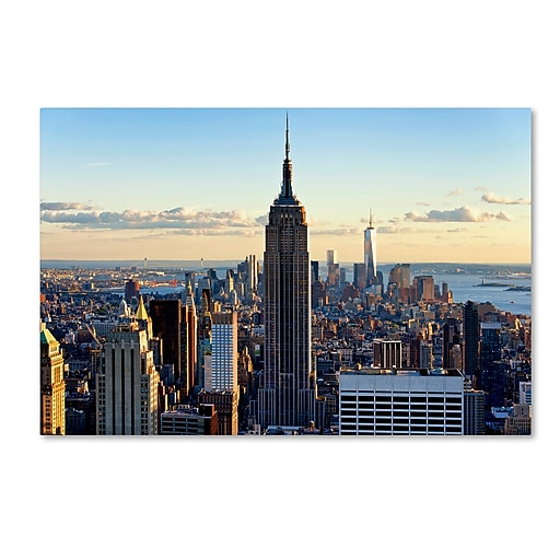 "Trademark Fine Art Philippe Hugonnard 'Downtown at Sunset NYC' 12"" x 19"" Canvas Stretched (190836046379)"