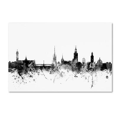 Trademark Fine Art Michael Tompsett 'Stockholm Sweden Skyline B&W' 12