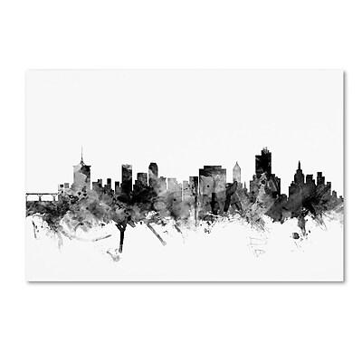 Trademark Fine Art Michael Tompsett 'Tulsa Oklahoma Skyline B&W' 12