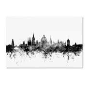 "Trademark Fine Art Michael Tompsett 'Oxford England Skyline B&W' 12"" x 19"" Canvas Stretched (190836104345)"