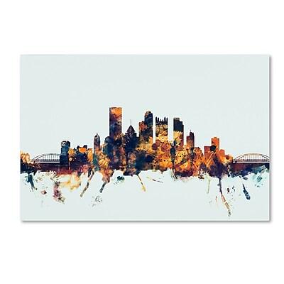 Trademark Fine Art Michael Tompsett 'Pittsburgh PA Skyline Blue' 12