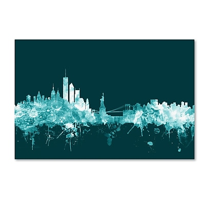 Trademark Fine Art Michael Tompsett 'New York Skyline Teal' 12