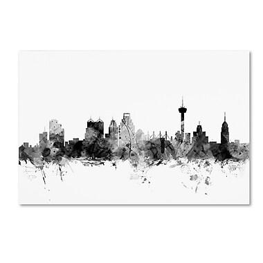Trademark Fine Art Michael Tompsett 'San Antonio Texas Skyline B&W' 12