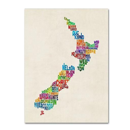 "Trademark Fine Art Michael Tompsett 'New Zealand Typography Map' 14"" x 19"" Canvas Stretched (190836014491)"