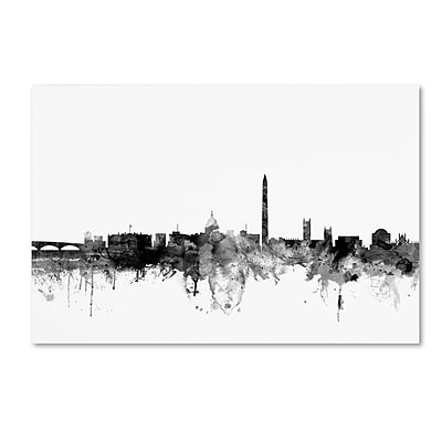 "Trademark Fine Art Michael Tompsett 'Washington DC Skyline B&W' 12"" x 19"" Canvas Stretched (190836103706)"