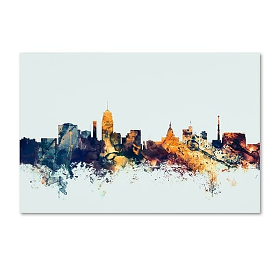 Trademark Fine Art Michael Tompsett 'Lansing Michigan Skyline Blue' 12
