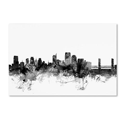 "Trademark Fine Art Michael Tompsett 'Sacramento CA Skyline B&W' 12"" x 19"" Canvas Stretched (190836108503)"