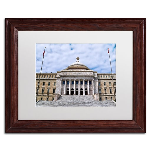 """Trademark Fine Art CATeyes 'Capitol of Puerto Rico' 11"""" x 14"""" Matted Framed (190836033676)"""