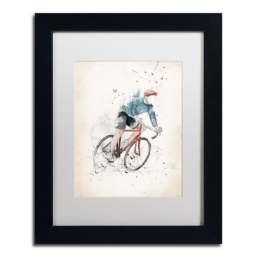 """Trademark Fine Art Balazs Solti 'I Want To Ride My Bicycle' 11"""" x 14"""" Matted Framed (190836181254)"""