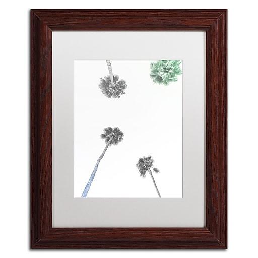"Trademark Fine Art Ariane Moshayedi 'Downward Palm BW' 11"" x 14"" Matted Framed (190836261581)"