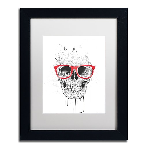 """Trademark Fine Art Balazs Solti 'Skull With Red Glasses' 11"""" x 14"""" Matted Framed (190836178414)"""