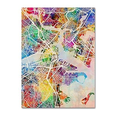 "Trademark Fine Art Michael Tompsett 'Boston MA Street Map' 14"" x 19"" Canvas Stretched (190836016570)"