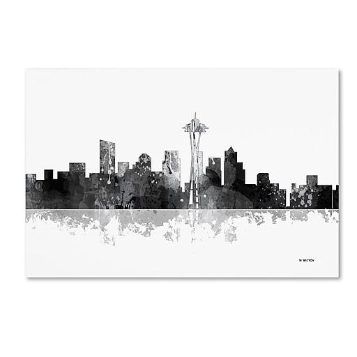 "Trademark Fine Art Marlene Watson 'Seattle Washington Skyline BG-1' 12"" x 19"" Canvas Stretched (190836198702)"