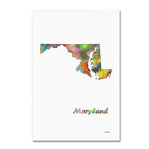 "Trademark Fine Art Marlene Watson 'Maryland State Map-1' 12"" x 19"" Canvas Stretched (190836215089)"