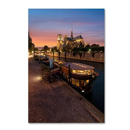 "Trademark Fine Art Mathieu Rivrin 'Sunset in Notre Dame de Paris' 12"" x 19"" Canvas Stretched (190836133444)"