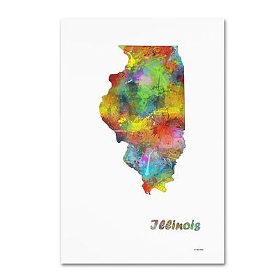 Trademark Fine Art Marlene Watson 'Illinois State Map-1' 12