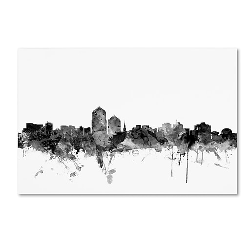 "Trademark Fine Art Michael Tompsett 'Albuquerque NM Skyline B&W' 12"" x 19"" Canvas Stretched (190836079322)"
