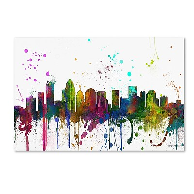 Trademark Fine Art Marlene Watson 'Charlotte NC Skyline Mclr-1' 12
